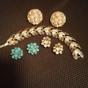 Jewelry - 4 Vintage Items 3 Pairs of Earrings and 1 Bracelet